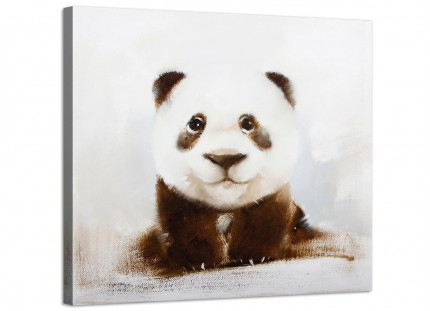 Childrens Canvas Prints of Black White and Brown Baby Panda Cub