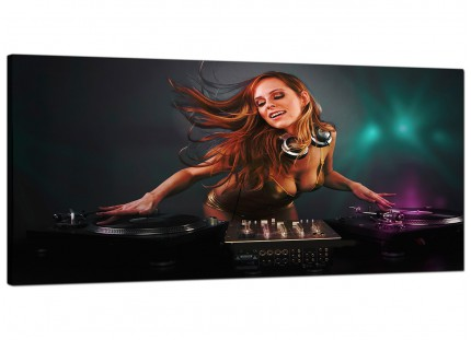 Large Girl DJ Mixing Decks Clubbing Modern Canvas Art - 120cm - 1064