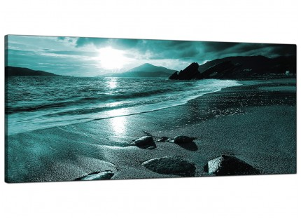 Large Teal Coloured Sunset Beach Scene Landscape Canvas Art - 120cm - 1079