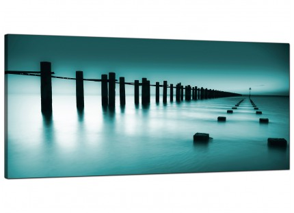 Large Teal Coloured Beach Scene Landscape Modern Canvas Art - 120cm - 1089