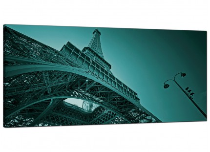 Large Teal Coloured Eiffel Tower Paris Cityscape Canvas Art - 120cm - 1014
