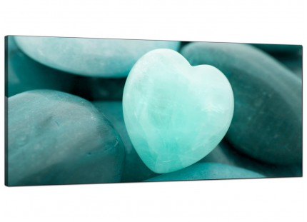 Large Teal Green Blue Love Heart Abstract Modern Canvas Art - 120cm - 1080