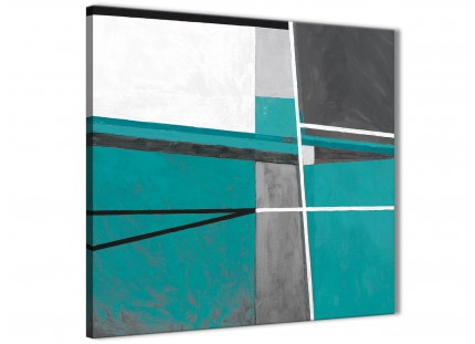 Teal Grey Painting Bathroom Canvas Wall Art Accessories - Abstract 1s389s - 49cm Square Print