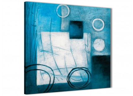 Teal White Painting Bathroom Canvas Wall Art Accessories - Abstract 1s432s - 49cm Square Print