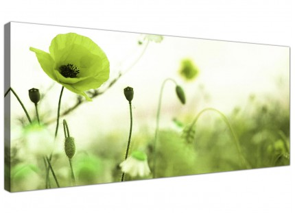Large Lime Green White Poppy Field Flowers Floral Canvas Art - 120cm - 1273