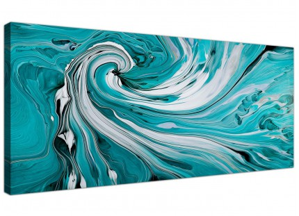 Teal and White Spiral Swirl - Abstract Canvas Modern 1 Piece - 120cm Wide