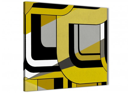Yellow Grey Painting Bathroom Canvas Wall Art Accessories - Abstract 1s409s - 49cm Square Print