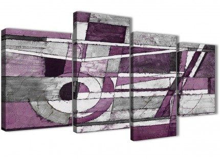 Large Aubergine Grey White Painting Abstract Bedroom Canvas Pictures Decor - 4406 - 130cm Set of Prints