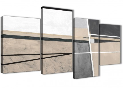 Large Beige Cream Grey Painting Abstract Bedroom Canvas Pictures Decor - 4394 - 130cm Set of Prints
