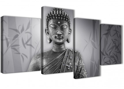 Large Black White Buddha Bedroom Canvas Pictures Decor - 4373 - 130cm Set of Prints