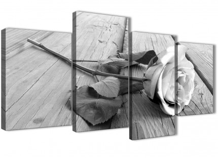 Large Black White Rose Floral Living Room Canvas Pictures Decor - 4372 - 130cm Set of Prints