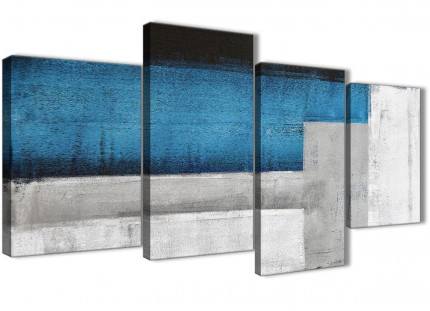 Large Blue Grey Painting Abstract Bedroom Canvas Wall Art Decor - 4423 - 130cm Set of Prints