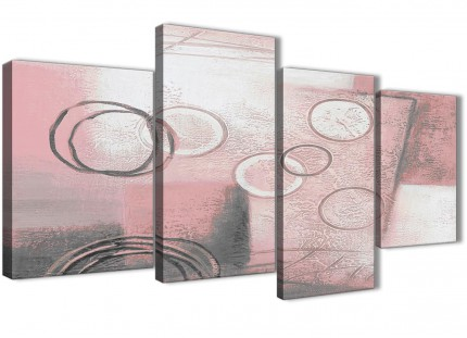 Large Blush Pink Grey Painting Abstract Living Room Canvas Wall Art Decor - 4433 - 130cm Set of Prints