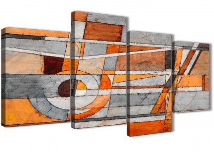 Large Burnt Orange Grey Painting Abstract Bedroom Canvas Wall Art Decor - 4405 - 130cm Set of Prints