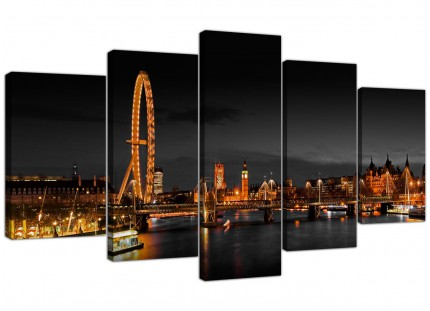 Panoramic London Eye at Night Big Ben City XL Canvas - 5 Part - 160cm - 5186