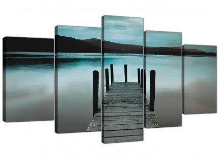 Teal Grey Coloured Lake Jetty View Landscape XL Canvas - Set of 5 - 160cm - 5237