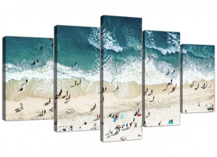 Ocean Beach Themed Scene Gold Coast Beach XL Canvas - 5 Panel - 160cm - 5245
