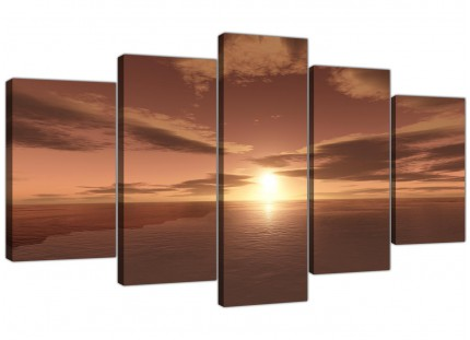 Extra Large Brown Ocean Sunrise - Seascape Canvas Multi 5 Panel 160cm Wide