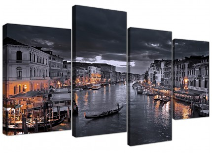 Venice Italy Gondola Black White City Canvas - Multi 4 Set - 130cm - 4229