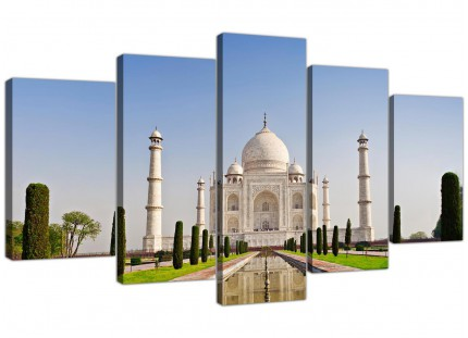 Extra Large Taj Mahal Landscape in Blue Canvas - 5 Part - 160cm - 5203
