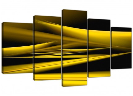 Yellow Black Modern Contemporary Waves Abstract XL Canvas - 5 Set - 160cm - 5257