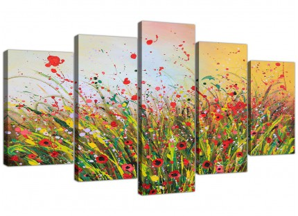 Modern Abstract Summertime Flowers Red Floral XL Canvas - 5 Part - 160cm - 5262