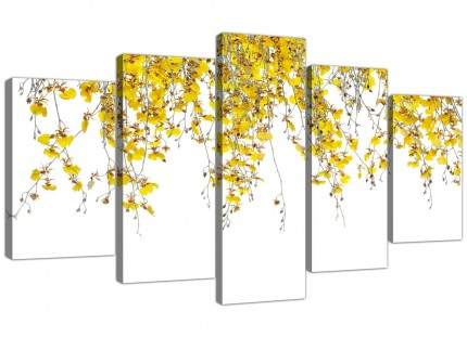 Modern Yellow White Orchids Flowers Floral XL Canvas - 5 Part - 160cm - 5263