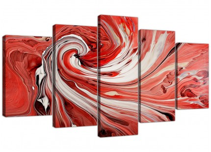 Extra Large Red Black White Swirls Modern Abstract Canvas - 5 Set - 160cm - 5265