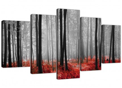 Black White Red Grey Forest Woodland Trees XL Canvas - Set of 5 - 160cm - 5236