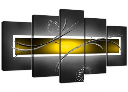 Extra Large Yellow Grey White Modern Abstract Canvas - Set of 5 - 160cm - 5259