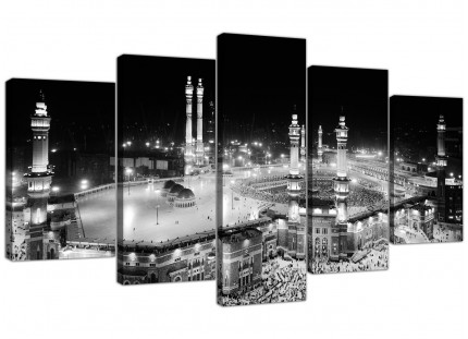 Large Black and White Islamic Mecca Temple - Split Set of 5 - 160cm Wide
