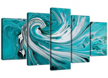 Extra Large Teal White Grey Modern Swirls Abstract Canvas - 5 Set - 160cm - 5266