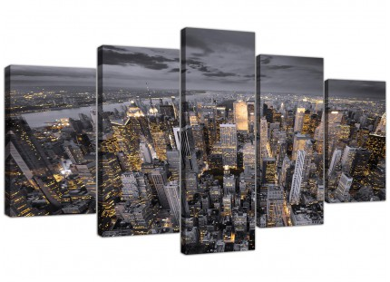 Black White Yellow New York Skyline Cityscape XL Canvas - 5 Panel - 160cm - 5269