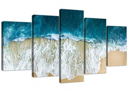 Panoramic Ocean Beach Scene Australia Beach XL Canvas - 5 Piece - 160cm - 5244