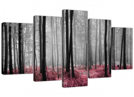 Black White Pink Grey Forest Woodland Trees XL Canvas - 5 Piece - 160cm - 5241