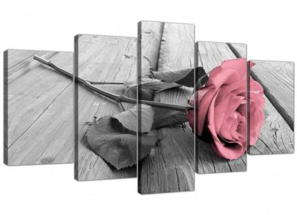 Extra Large Pink Grey Rose Flower Pastel Floral Canvas - 5 Part - 160cm - 5271