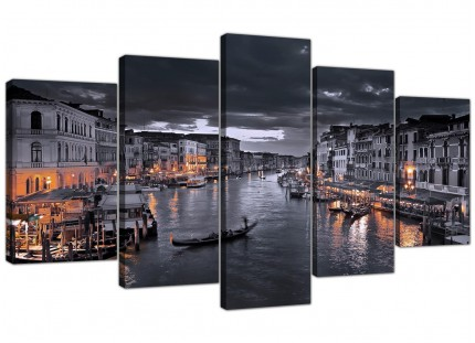 Extra Large Venice Italy Gondola Black White City Canvas - 5 Part - 160cm - 5229