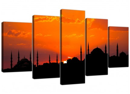 Istanbul Skyline Sunset - Blue Mosque Landscape XL Canvas - 5 Set - 160cm - 5205
