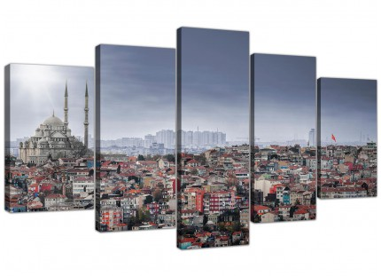 Istanbul Skyline - Islamic Mosque Cityscape XL Canvas - 5 Part - 160cm - 5274