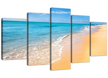 Extra Large Panoramic Tropical Blue Seascape Beach Canvas - 5 Set - 160cm - 5199