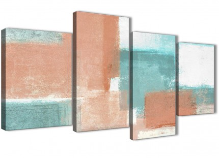 Large Coral Turquoise Abstract Bedroom Canvas Wall Art Decor - 4366 - 130cm Set of Prints