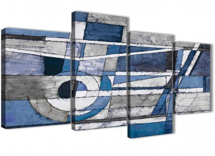 Large Indigo Blue White Painting Abstract Bedroom Canvas Pictures Decor - 4404 - 130cm Set of Prints