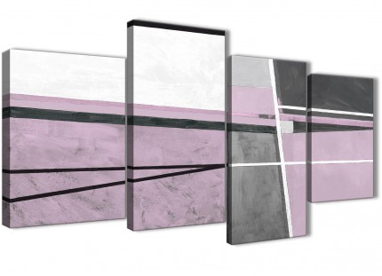 Large Lilac Grey Painting Abstract Bedroom Canvas Pictures Decor - 4395 - 130cm Set of Prints