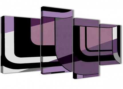 Large Lilac Grey Painting Abstract Living Room Canvas Pictures Decor - 4412 - 130cm Set of Prints