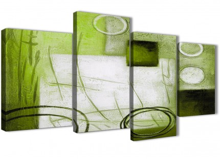 Large Lime Green Painting Abstract Bedroom Canvas Wall Art Decor - 4431 - 130cm Set of Prints