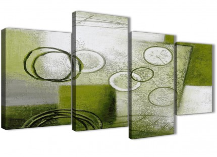 Large Lime Green Painting Abstract Living Room Canvas Pictures Decor - 4434 - 130cm Set of Prints