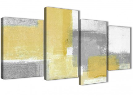 Large Mustard Yellow Grey Abstract Bedroom Canvas Pictures Decor - 4367 - 130cm Set of Prints