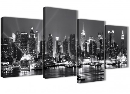 Large New York Skyline Canvas Wall Art - Cityscape - Black White and Grey 4435 - 130cm Set of Pictures