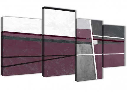 Large Plum Purple Grey Painting Abstract Bedroom Canvas Pictures Decor - 4391 - 130cm Set of Prints