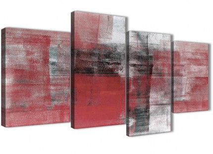 Large Red Black White Painting Abstract Bedroom Canvas Pictures Decor - 4397 - 130cm Set of Prints